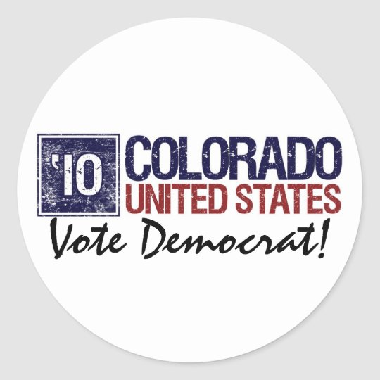 Vote Democrat in 2010 – Vintage Colorado Classic Round Sticker