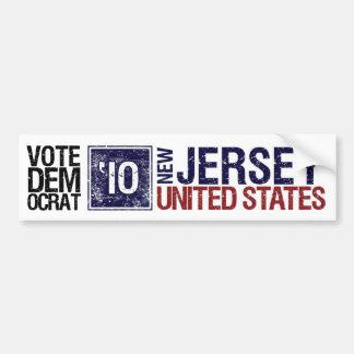Vote Democrat in 2010 – Vintage New Jersey Bumper Sticker