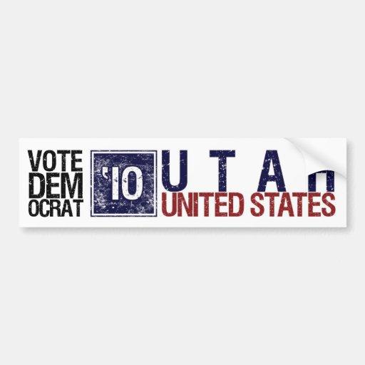 Vote Democrat in 2010 – Vintage Utah Bumper Sticker