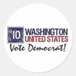 Vote Democrat in 2010 – Vintage Washington Round Stickers
