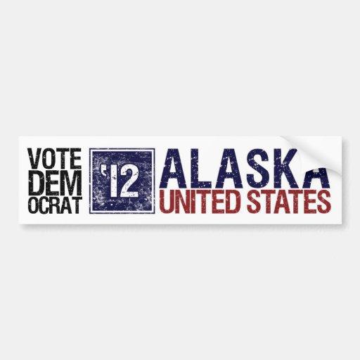 Vote Democrat in 2012 – Vintage Alaska Bumper Sticker