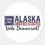 Vote Democrat in 2012 – Vintage Alaska Round Stickers