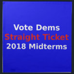 "Vote Democrat In 2018 Midterm Elections Napkin<br><div class=""desc"">This red, white, and blue political design is a call to vote for Democrats in the 2018 midterm elections. If liberal and Dem supporters get enough people to vote a straight ticket for Democrats, there is a chance to overcome the Republicans and become the majority in both the US House...</div>"