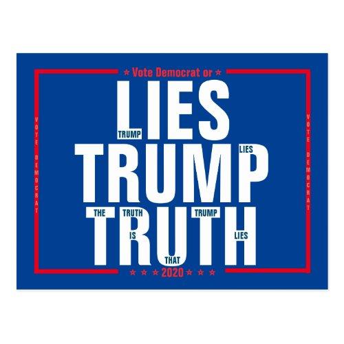 Vote Democrat or Lies Trump Truth 2020 Election Postcard