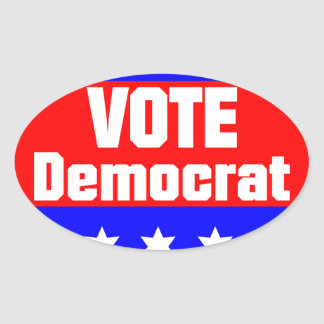 Vote Democrat Oval Sticker