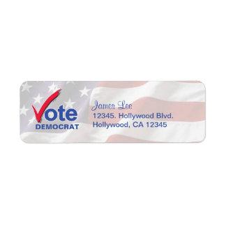 Vote Democrat Return Address Labels