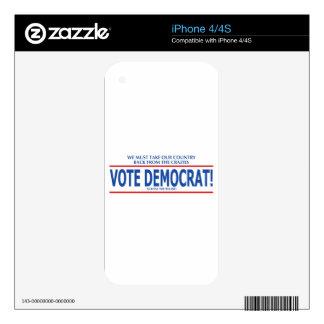VOTE DEMOCRAT! iPhone 4S DECALS