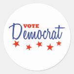 Vote Democrat (Stars) Round Sticker