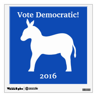 Vote Democratic 2016 Donkey Blue White Custom Wall Sticker