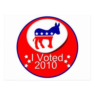 ¡Voté Democratic en 2010! Tarjetas Postales