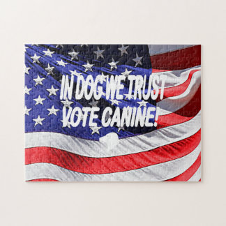 Vote Dog with American Flag Puzzle