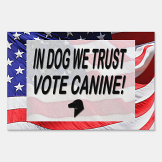 Vote Dog with American Flag Sign
