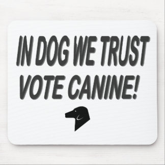 Vote Dog with Black Text Mouse Pad