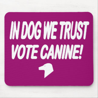 Vote Dog with White Text Mouse Pad