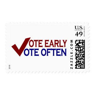 Vote Early Vote Often Postage Stamp