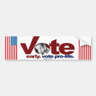Vote Early. Vote Pro-Life. Bumper Sticker