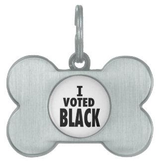 Voté el negro triunfos de Obama Placas De Mascota
