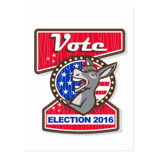 Vote Election 2016 Democrat Donkey Mascot Cartoon Postcard