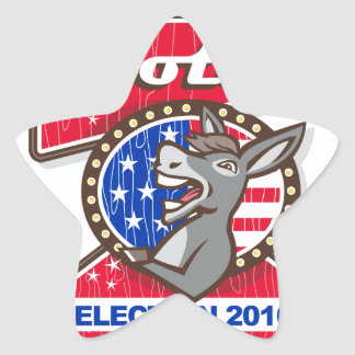 Vote Election 2016 Democrat Donkey Mascot Cartoon Star Sticker