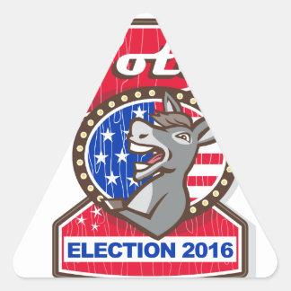 Vote Election 2016 Democrat Donkey Mascot Cartoon Triangle Sticker