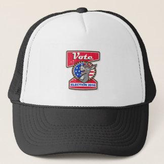 Vote Election 2016 Democrat Donkey Mascot Cartoon Trucker Hat