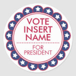 "Vote Election 3"" Round Stickers Customizable"