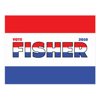 Vote Fisher 2010 Elections Red White and Blue Postcard
