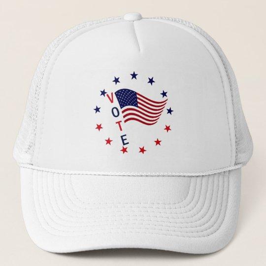 VOTE FLAG DESIGN TRUCKER HAT