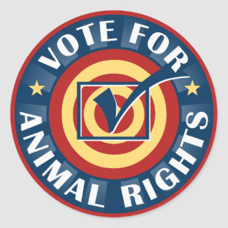 Vote for Animal Rights Classic Round Sticker