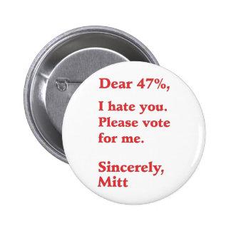 Vote for Barack Obama Mitt Romney Hates You 47% 2 Inch Round Button