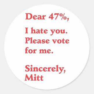 Vote for Barack Obama Mitt Romney Hates You 47% Classic Round Sticker