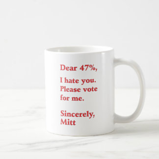 Vote for Barack Obama Mitt Romney Hates You 47% Classic White Coffee Mug