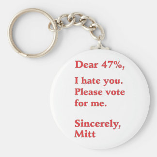 Vote for Barack Obama Mitt Romney Hates You 47% Keychain