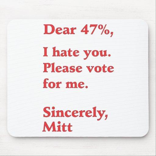Vote for Barack Obama Mitt Romney Hates You 47% Mouse Pad
