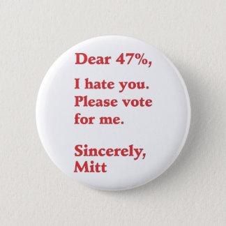 Vote for Barack Obama Mitt Romney Hates You 47% Pinback Button