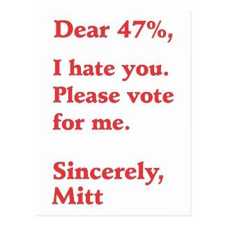 Vote for Barack Obama Mitt Romney Hates You 47% Postcard