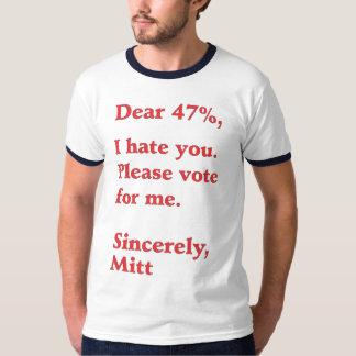 Vote for Barack Obama Mitt Romney Hates You 47% Tee Shirt