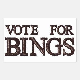 Vote For BINGS Rectangle Sticker