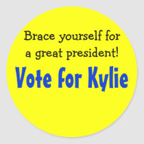Vote for ___, Brace yourself for a great President Classic Round Sticker