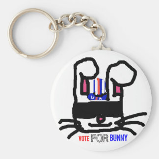 Vote For Bunny Basic Round Button Keychain