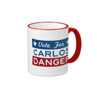 Vote For Carlos Danger Ringer Coffee Mug