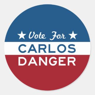 Vote For Carlos Danger Classic Round Sticker