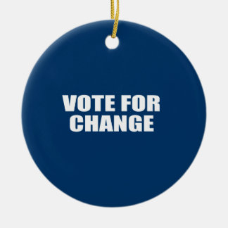 VOTE FOR CHANGE Double-Sided CERAMIC ROUND CHRISTMAS ORNAMENT