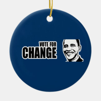Vote for change Obama Bumper 5 copy.png Double-Sided Ceramic Round Christmas Ornament