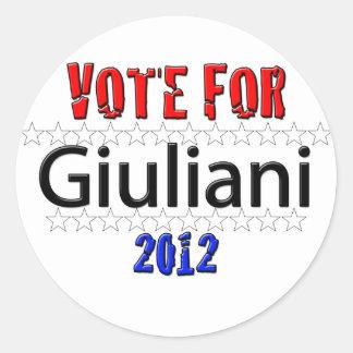 Vote for Giuliani in 2012 Classic Round Sticker