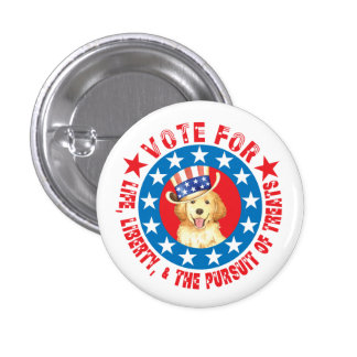 Vote for Golden Pinback Button