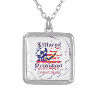 Vote for Hillary USA Stronger Together  My Preside Silver Plated Necklace