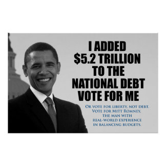 Vote for Liberty, Not Debt. Anti Obama Poster