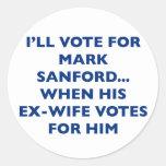 Vote For Mark Sanford Classic Round Sticker