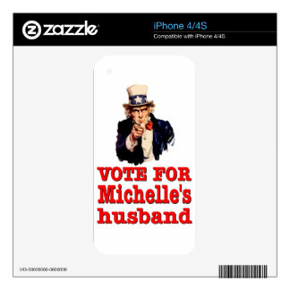 Vote For Michelle's Husband - Obama Decals For iPhone 4S